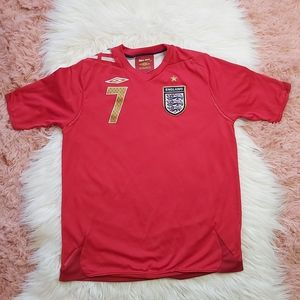 Boys Umbro England Beckham Football Shirt Jersey